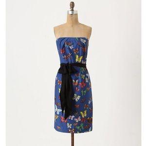 anthro NATHALIE LETE butterfly net strapless dress